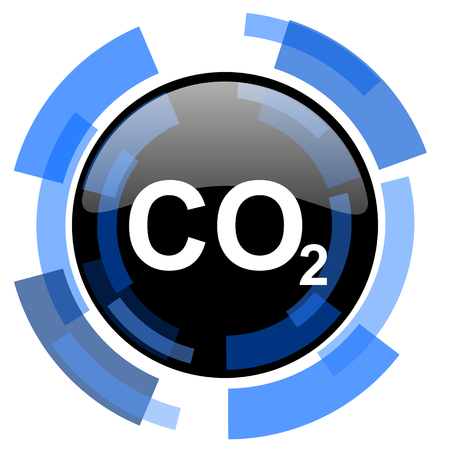 carbon dioxide black blue glossy web icon Stock Photo