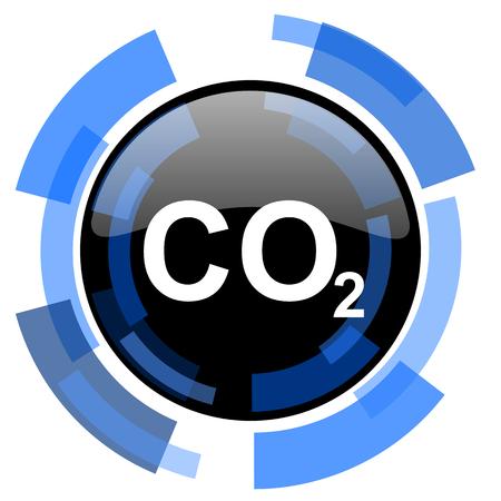 dioxide: carbon dioxide black blue glossy web icon Stock Photo