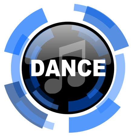 black and blue: dance music black blue glossy web icon