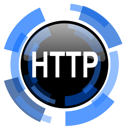 http: http black blue glossy web icon Stock Photo
