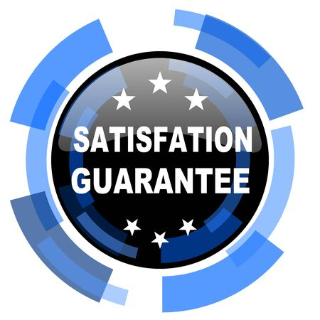 satisfaction guarantee: satisfaction guarantee black blue glossy web icon