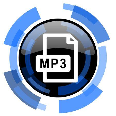 mp3: mp3 file black blue glossy web icon Stock Photo