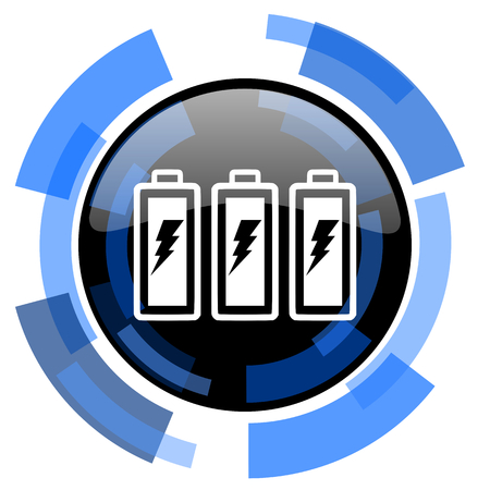 accuse: battery black blue glossy web icon