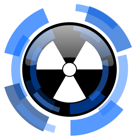 gamma radiation: radiation black blue glossy web icon Stock Photo