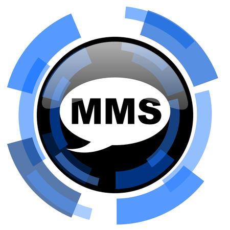 mms: mms black blue glossy web icon
