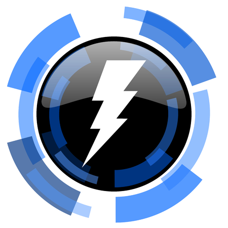 high voltage current: bolt black blue glossy web icon