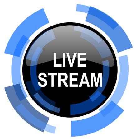 live stream tv: live stream black blue glossy web icon