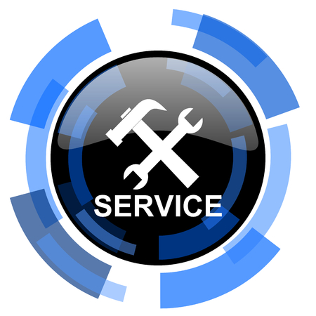 technological and communication: service black blue glossy web icon Stock Photo