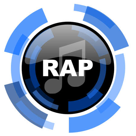 black and blue: rap music black blue glossy web icon