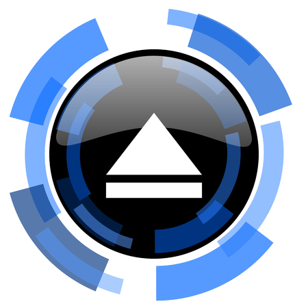 eject: eject black blue glossy web icon
