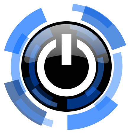 run off: power black blue glossy web icon
