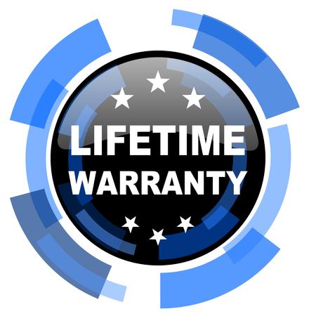 best security: lifetime warranty black blue glossy web icon