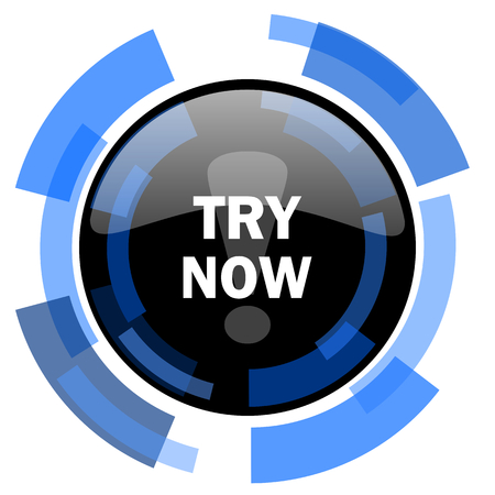 test probe: try now black blue glossy web icon Stock Photo