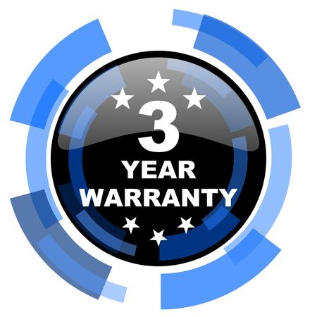 best security: warranty guarantee 3 year black blue glossy web icon Stock Photo