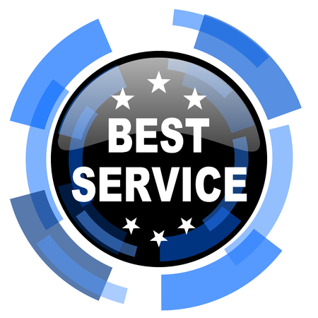 best service: best service black blue glossy web icon Stock Photo