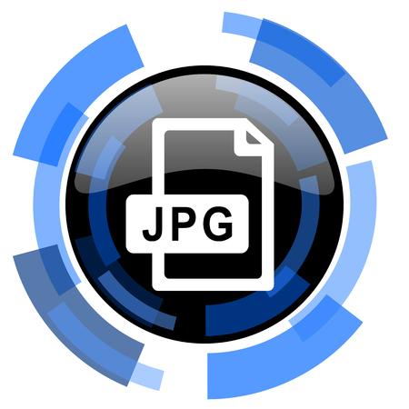 blue icon: jpg file black blue glossy web icon Stock Photo