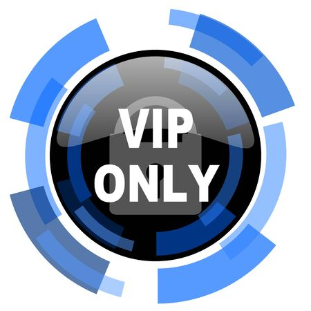 black and blue: vip only black blue glossy web icon Stock Photo