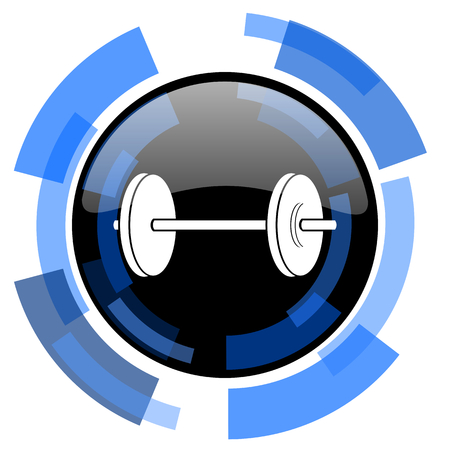 circular muscle: fitness black blue glossy web icon