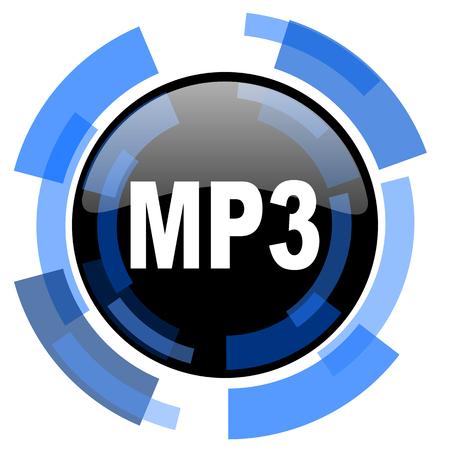 mp3: mp3 black blue glossy web icon
