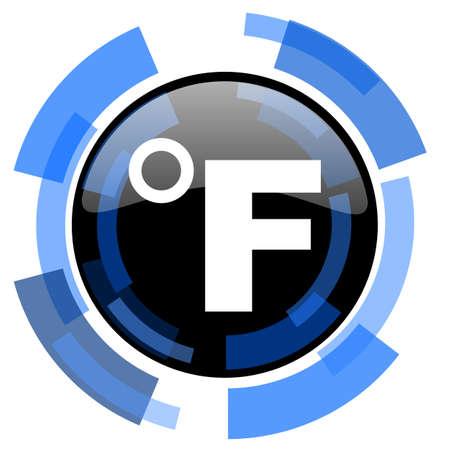 celcius: fahrenheit black blue glossy web icon Stock Photo