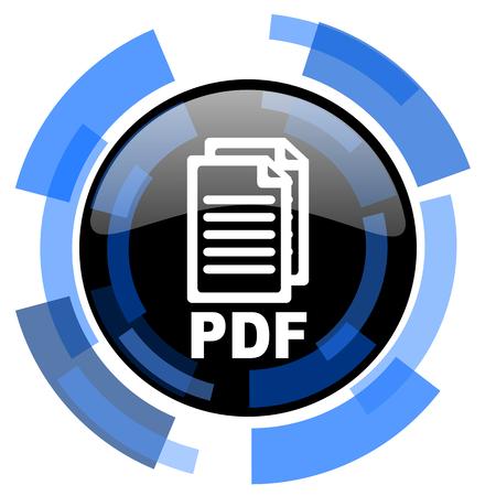 bibliography: pdf black blue glossy web icon, Stock Photo