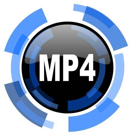 mp4: mp4 black blue glossy web icon Stock Photo