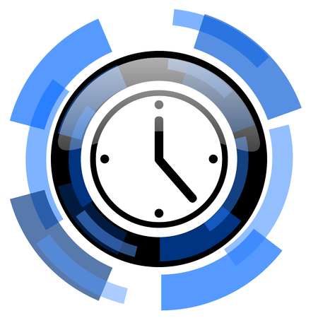 black and blue: time black blue glossy web icon