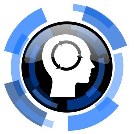 keen: head black blue glossy web icon Stock Photo