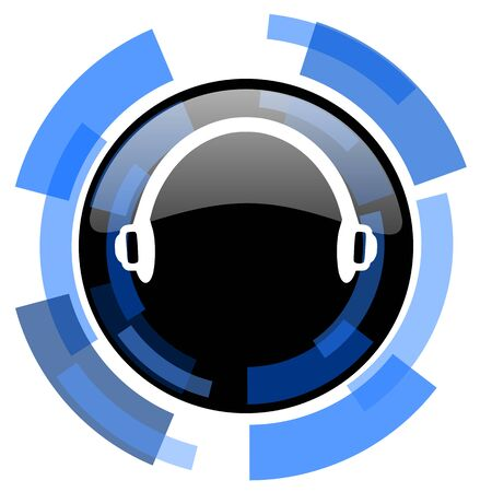 black and blue: headphones black blue glossy web icon