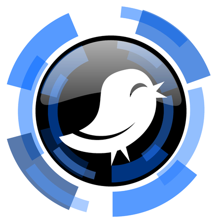twitter: twitter black blue glossy web icon Stock Photo