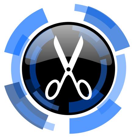 shampooing: scissors black blue glossy web icon