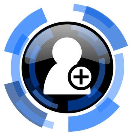 add: add contact black blue glossy web icon Stock Photo