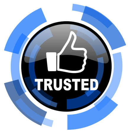 trusted: trusted black blue glossy web icon Stock Photo