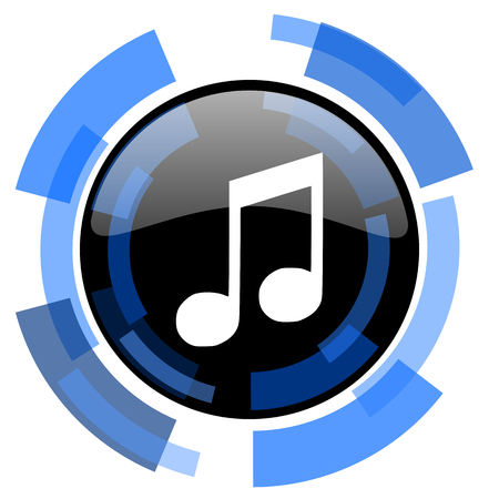 ring tones: music black blue glossy web icon
