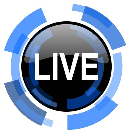 livestream: live black blue glossy web icon Stock Photo