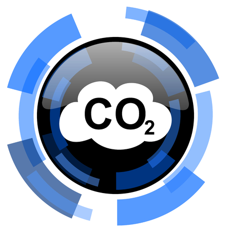 carbon dioxide: carbon dioxide black blue glossy web icon Stock Photo