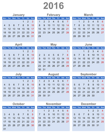 next year: calendar 2016
