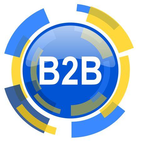 b2b: b2b azul amarillo brillante del icono del Web
