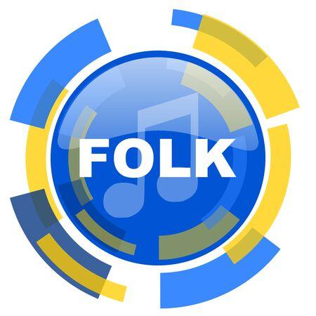 folk music: folk music blue yellow glossy web icon