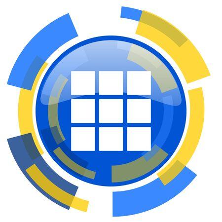 thumbnails: thumbnails grid blue yellow glossy web icon