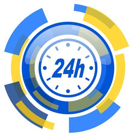 24h: 24h blue yellow glossy web icon
