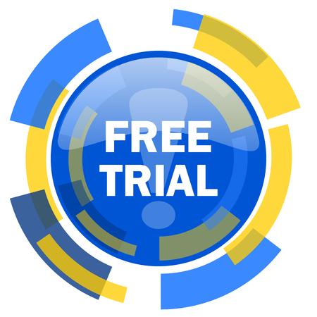 smarthone: free trial blue yellow glossy web icon Stock Photo