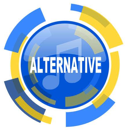 alternative: alternative music blue yellow glossy web icon