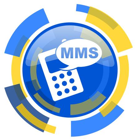 mms: mms blue yellow glossy web icon Stock Photo