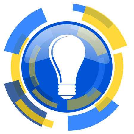 smarthone: bulb blue yellow glossy web icon Stock Photo