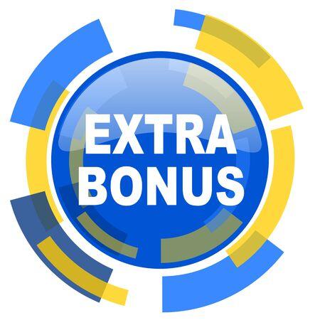 discounting: extra bonus blue yellow glossy web icon