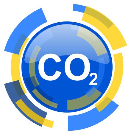 dioxido de carbono: el dióxido de carbono azul amarillo brillante del icono del Web