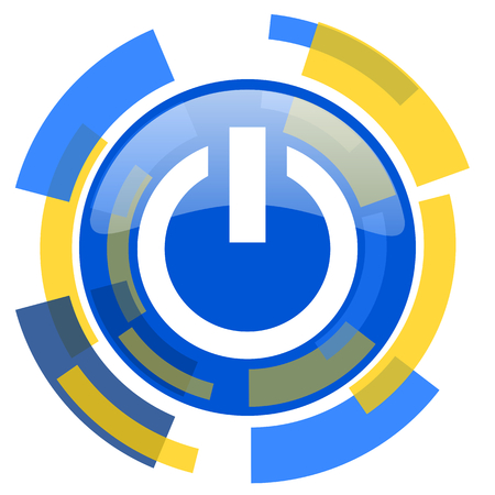 run off: power blue yellow glossy web icon