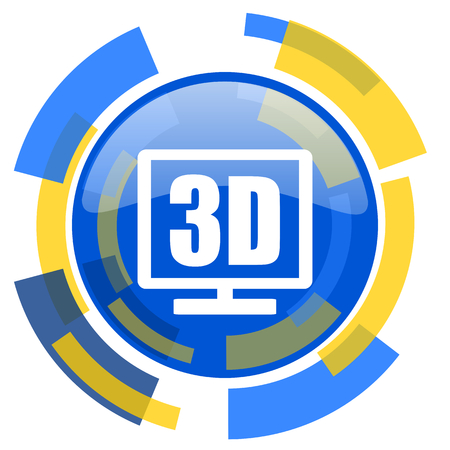 display: 3d display blue yellow glossy web icon
