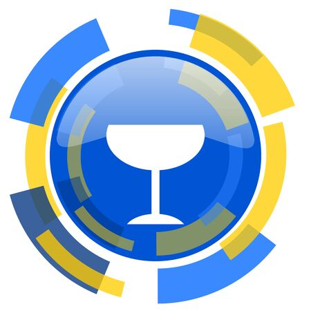 smarthone: alcohol  blue yellow glossy web icon